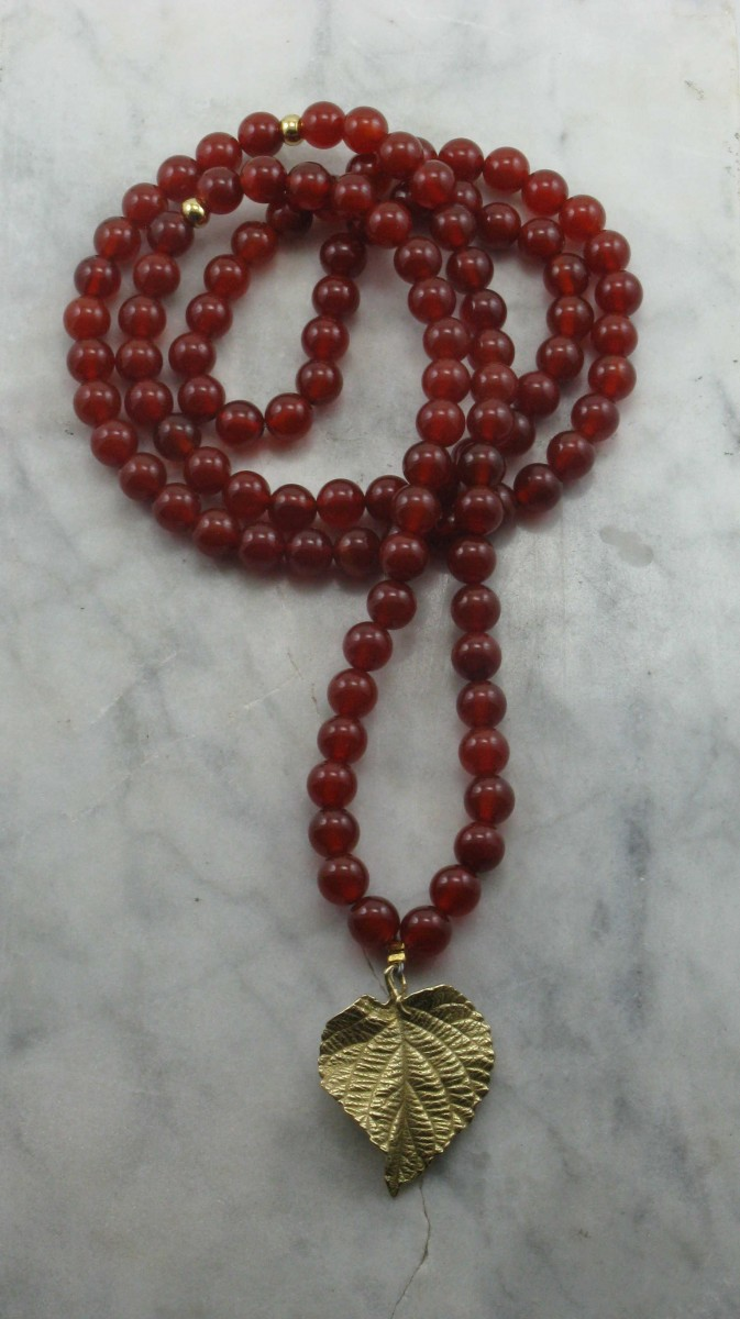 Golden_Leaf_Mala_Necklace_108_Carnelian_Mala_Beads_Buddhist_Prayer_Beads