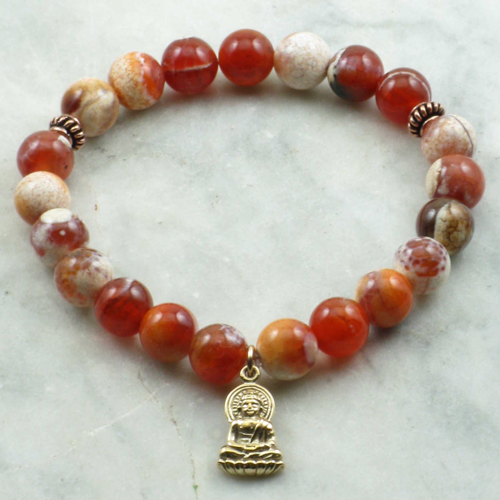 Creativity Mala Bracelet 21 Fire Agate Mala Beads Yoga