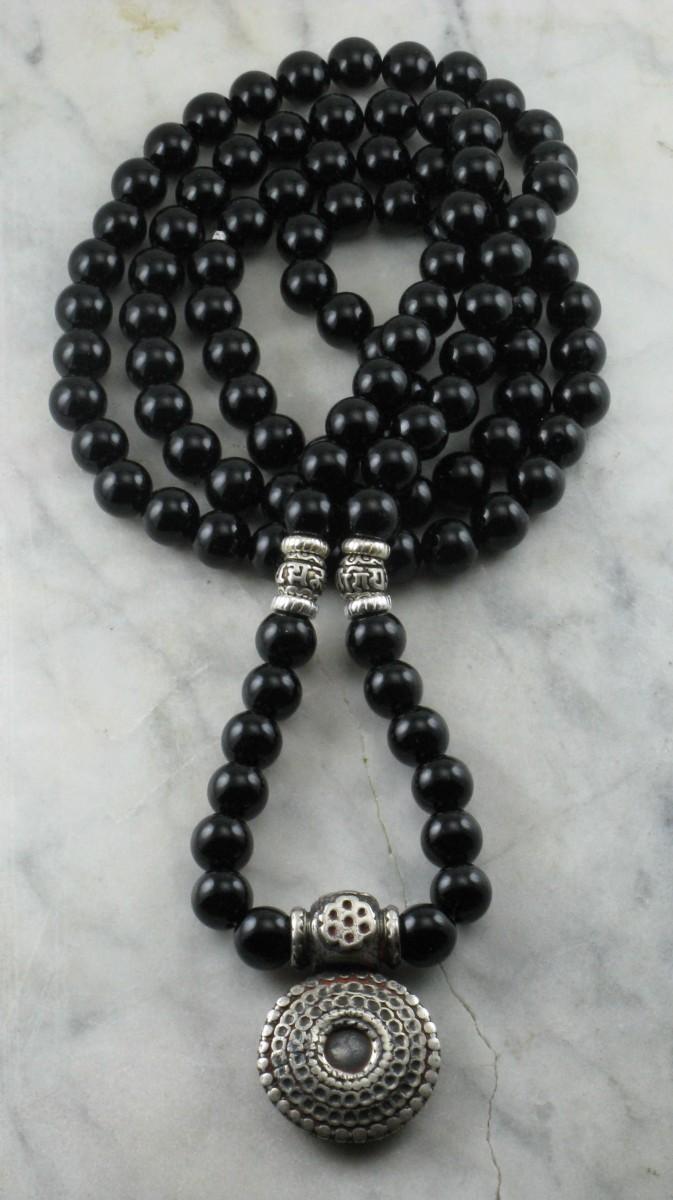 Kalachakra_Mala_Bead_Necklace_108_Black_Onyx_Mala_Beads_Buddhist_Prayer_Beads_Antique_Indian_Jewelry_Amulet