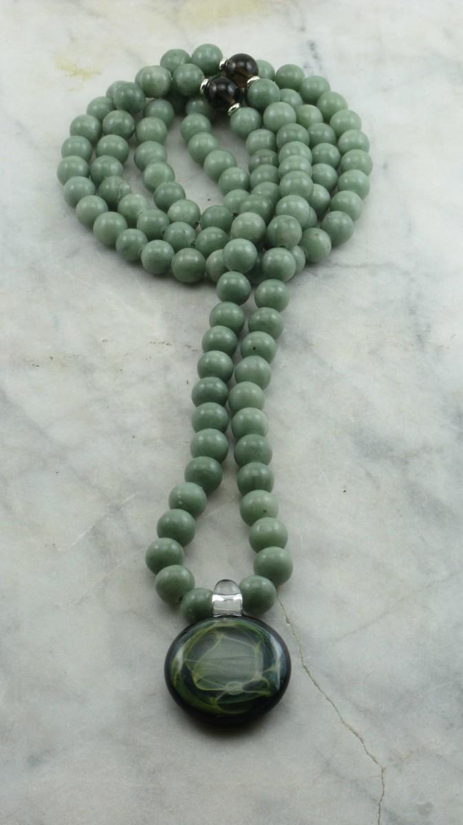 Spring_Eve_Mala_Necklace_108_Grey_Jade_Mala_Beads