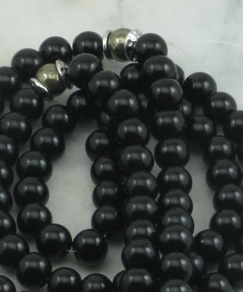 Warrior Mala Necklace 108 Black Onyx Mala Beads Prayer