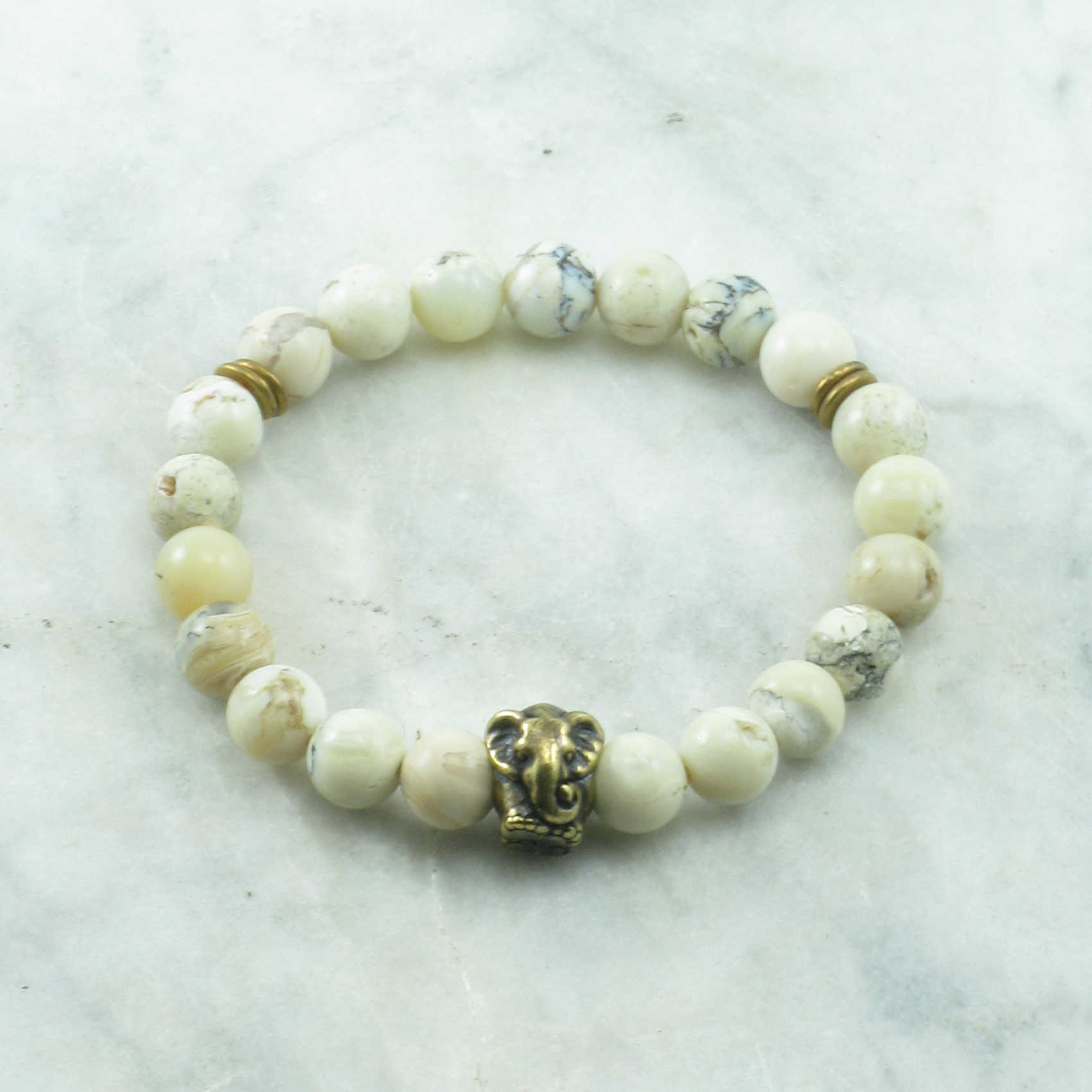 bracelet yoga mindful shop elephant opal white beads mala