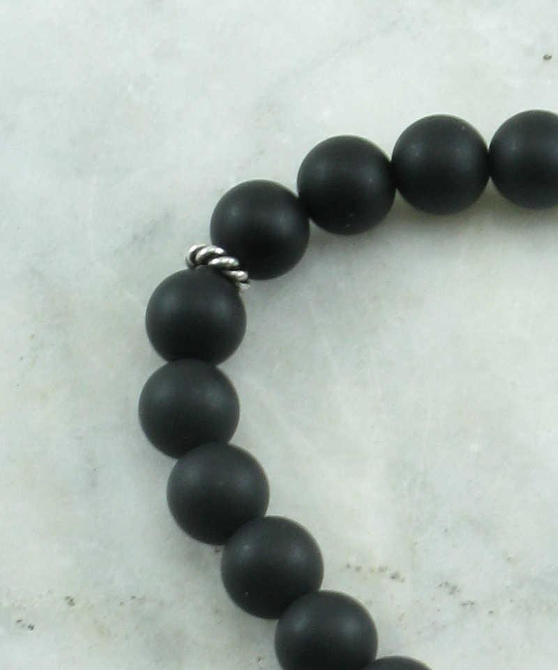 Koi mala bracelet 21 black agate mala beads buddhist for Koi fish beads