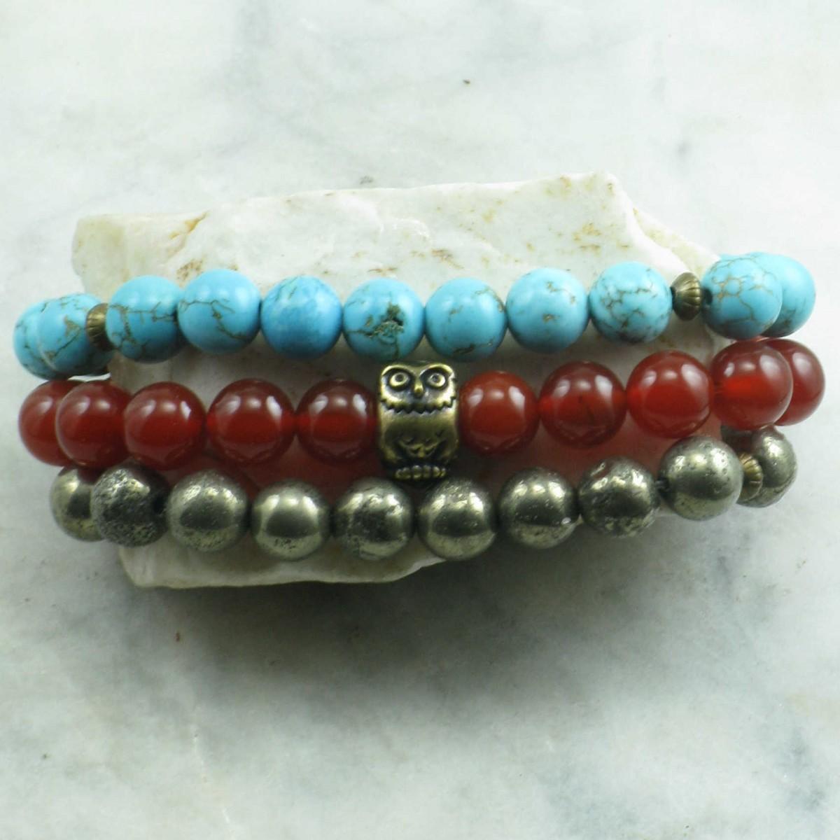 Durga_Stack_Mala_Beads_Turquoise_Carnelian_Pyrite_Mala_Bracelets