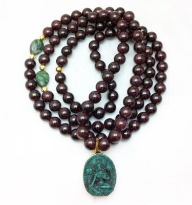 garnet mala necklace