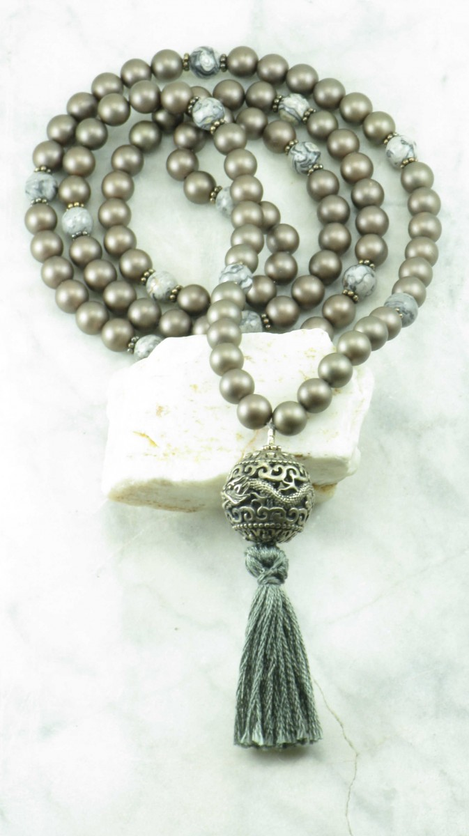 Borobudur_Mala_108_Grey_Picture_Jasper_Mala_Beads_Buddhist_Prayer_Beads