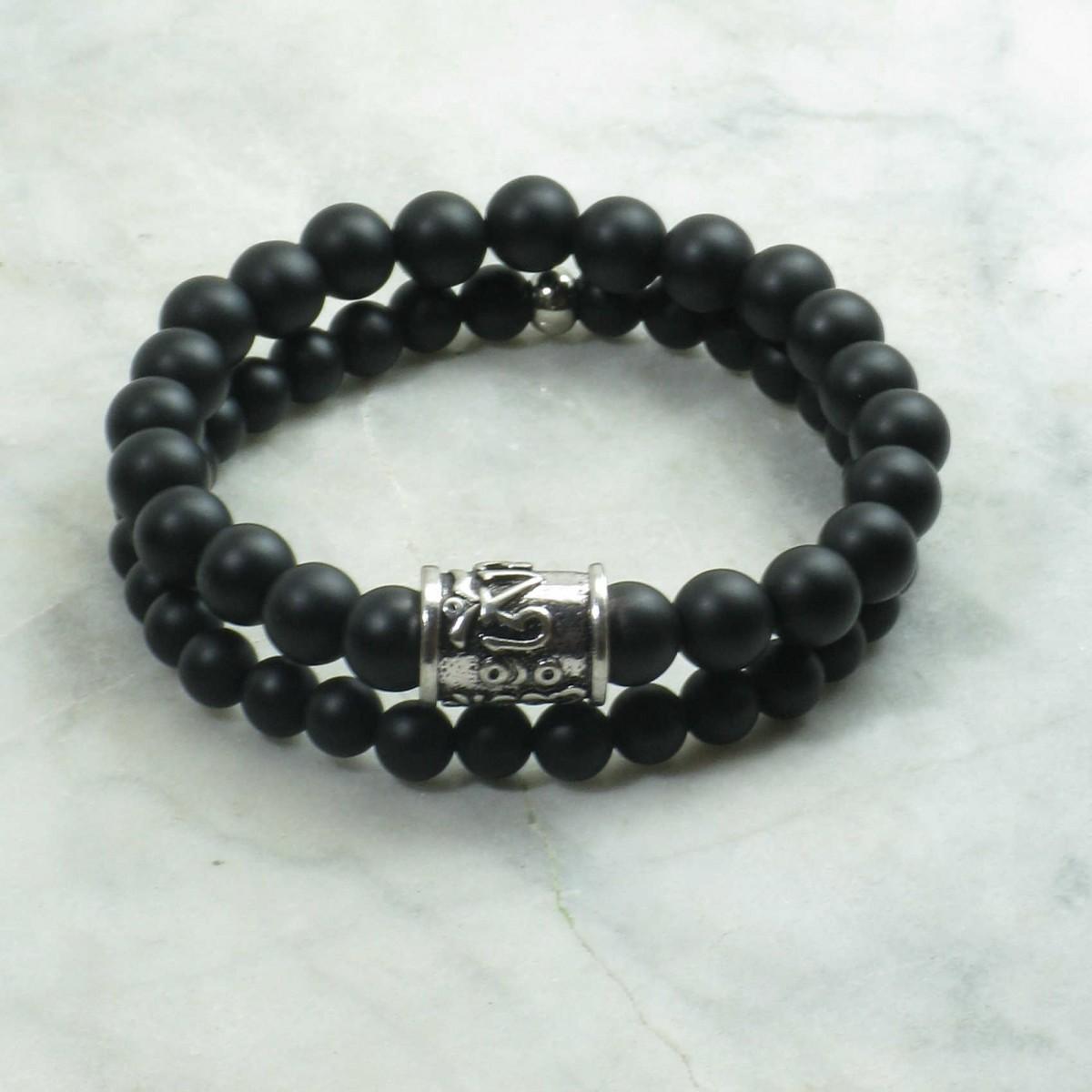 Nichiren_Bracelets_for_Men_Mala_Beads_Stacks_Black_Agate_Buddhist_Prayer_Beads