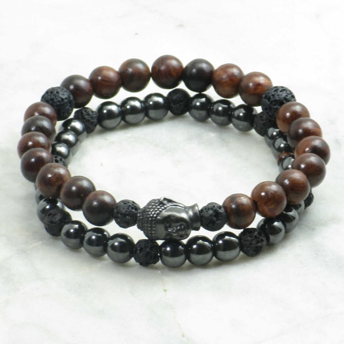 Sankalpa_Bracelets_for_Men_Mala_Beads_Stacks_Rosewood_Hematite_Lava_Buddhist_Prayer_Beads