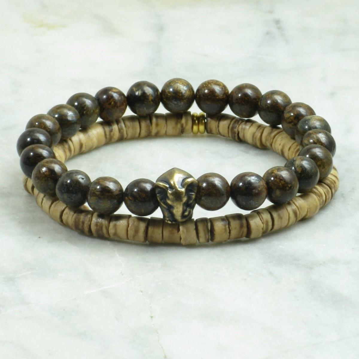 Hemingways_Bracelets_for_Men_Mala_Beads_Stacks_Bronzite_Coconut_Buddhist_Prayer_Beads
