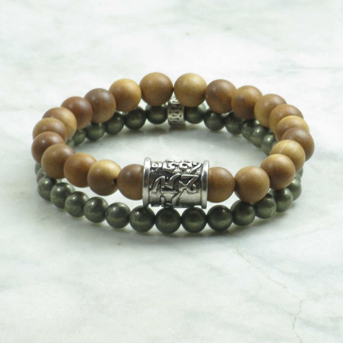 Peace_Bracelets_for_Men_Mala_Beads_Stacks_Sandalwood_Pyrite_Coconut_Buddhist_Prayer_Beads