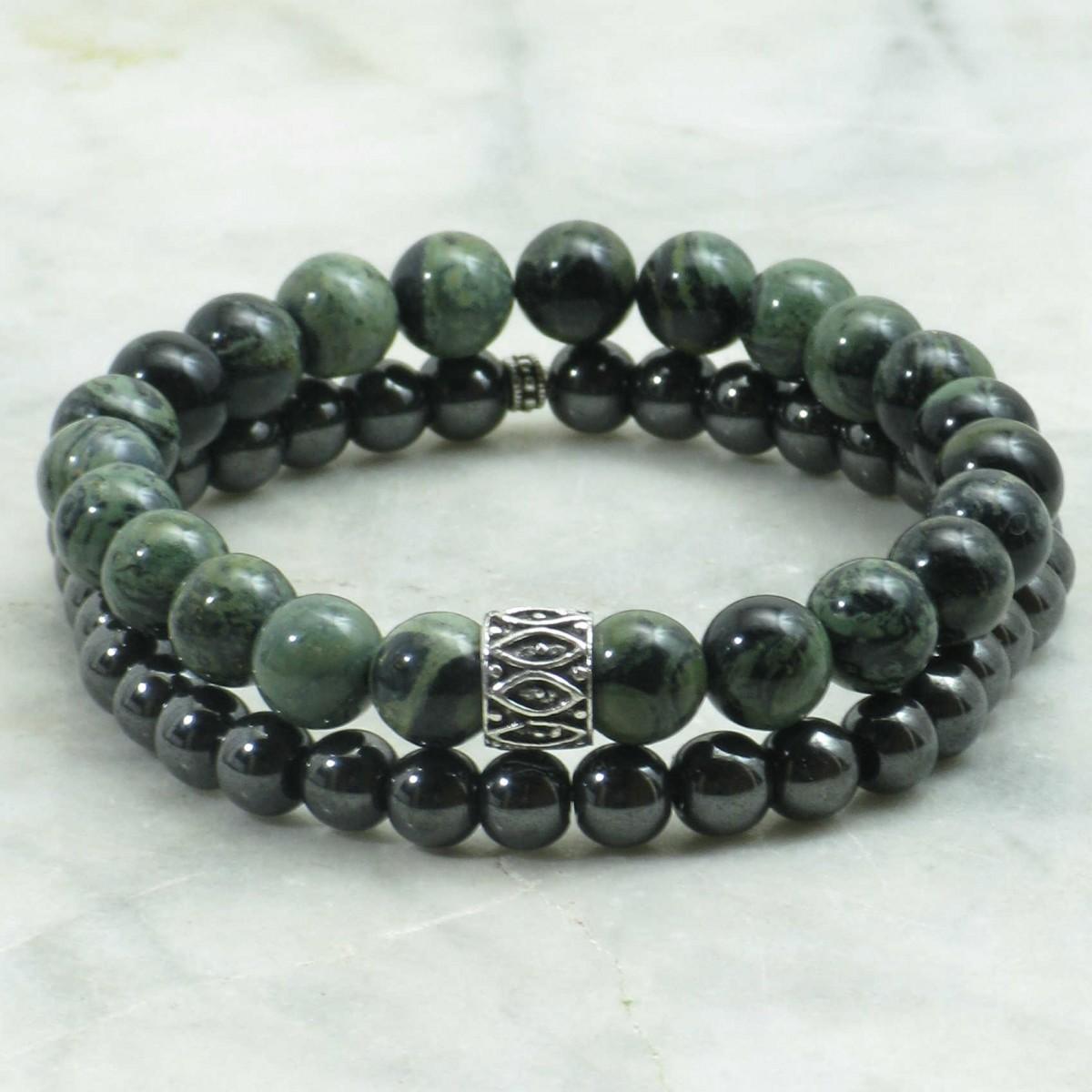 Shakti_Bracelets_for_Men_Mala_Beads_Stacks_Kambamba_Jasper_Mala_Beads_Hematite_Buddhist_Prayer_Beads