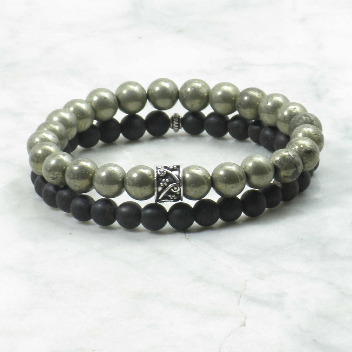 Shreyas_Bracelets_for_Men_Mala_Beads_Stacks_Pyrite_Agarwood_Buddhist_Prayer_Beads