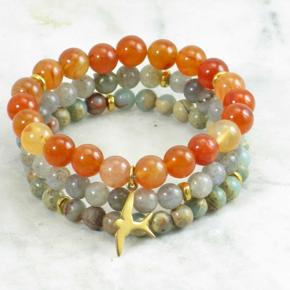 Darsana_Mala_Beads_Stack_21_Carnelian_Labradorite_Serpentine_Mala_Beads_Buddhist_Prayer_Beads