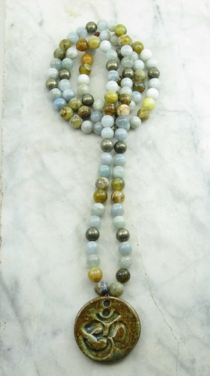 Devi_Mala_Beads_108_Aquamarine_Pyrite_Opal_Mala_Beads_Buddhist_Prayer_Beads