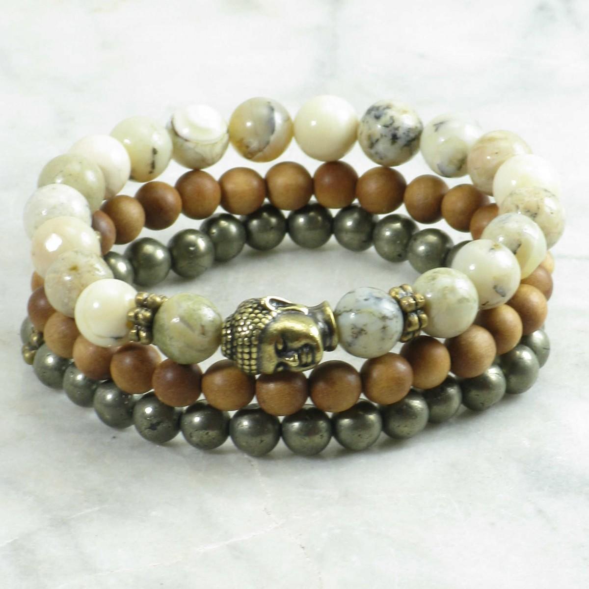 Golden_Buddha_Mala_Beads_Stack_21_Opal_Pyrite_Sandalwood_Mala_Beads_Buddhist_Prayer_Beads