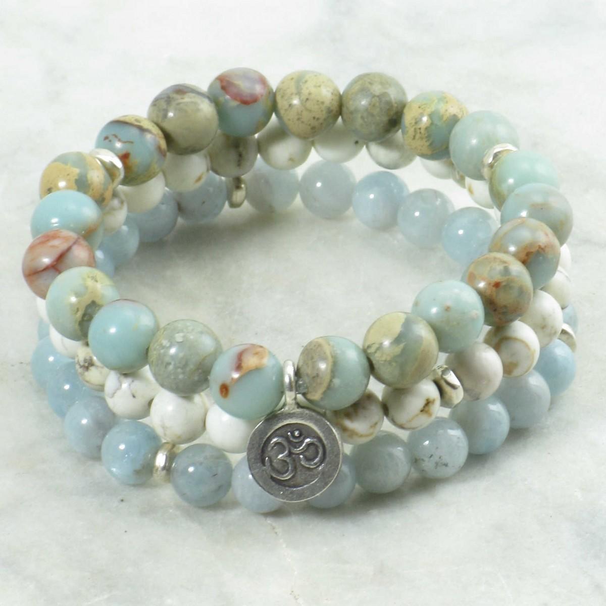 Soham_Mala_Beads_Stack_21_Serpentine_Aquamarine_Howlite_Mala_Beads_Buddhist_Prayer_Beads