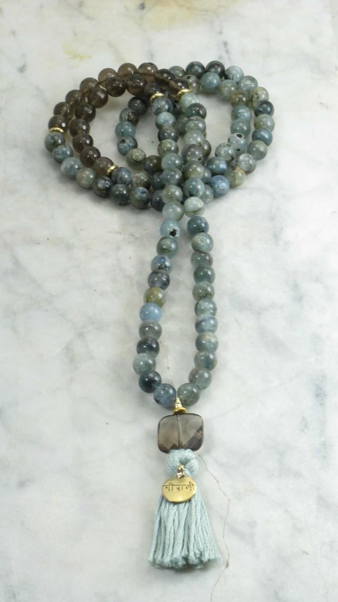 Friendship_Mala_Beads_108_Kyanite_Smoky_Quartz_Mala_Beads_Buddhist_Prayer_Beads