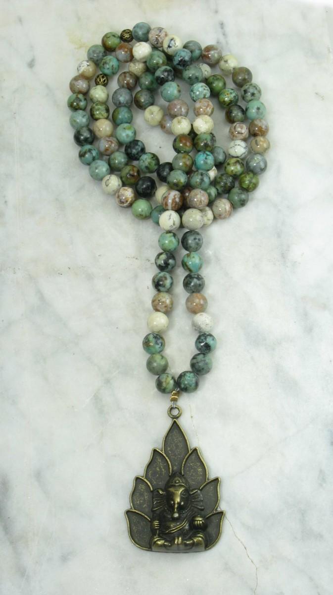 Ganesha_Mala_Beads_108_Green_Jasper_Opal_Mala_Beads_Buddhist_Prayer_Beads