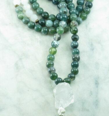 moss agate mala beads