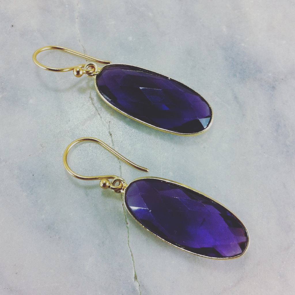 These bold earrings are made with amethyst healing gemstones, excellent for connecting to the Divine, purification, and protection.