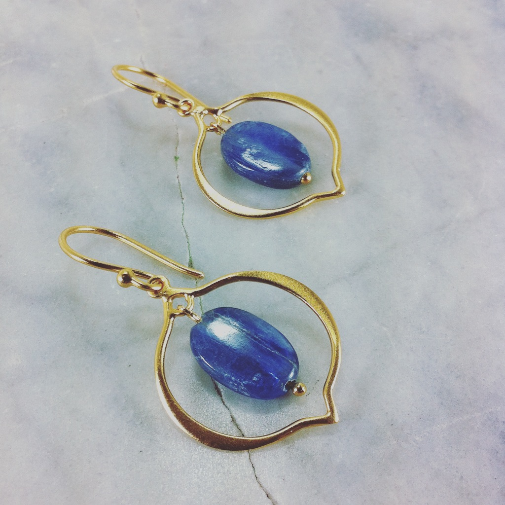 The Dream Yoga Earrings are made from kyanite and gold vermeil 24k. Yoga jewelry for developing spiritual gifts, connecting to the subconscious, intuition.