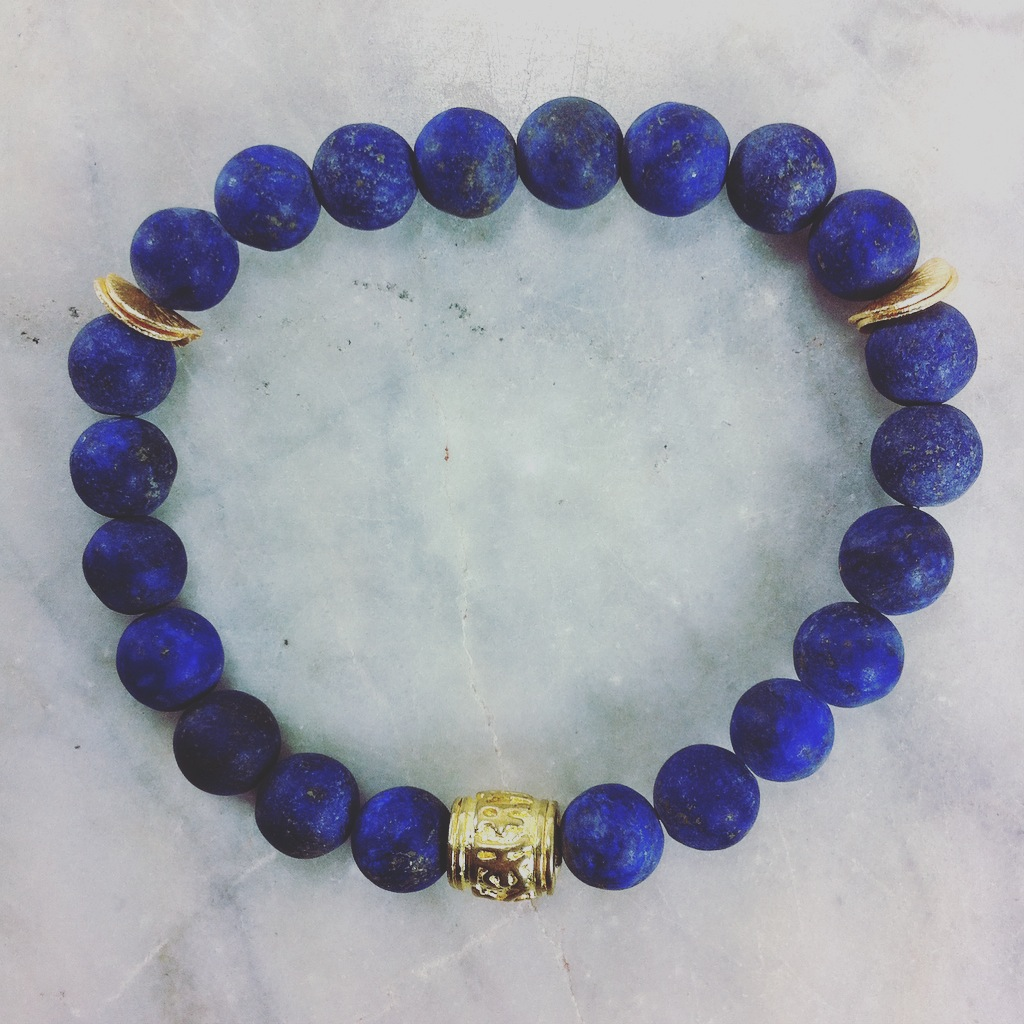 Mala Beads Bracelet from Lapis Lazuli with Om Mani Padme Hum Mantra. Mala Beads for deepening meditation, royal virtue, and serenity.