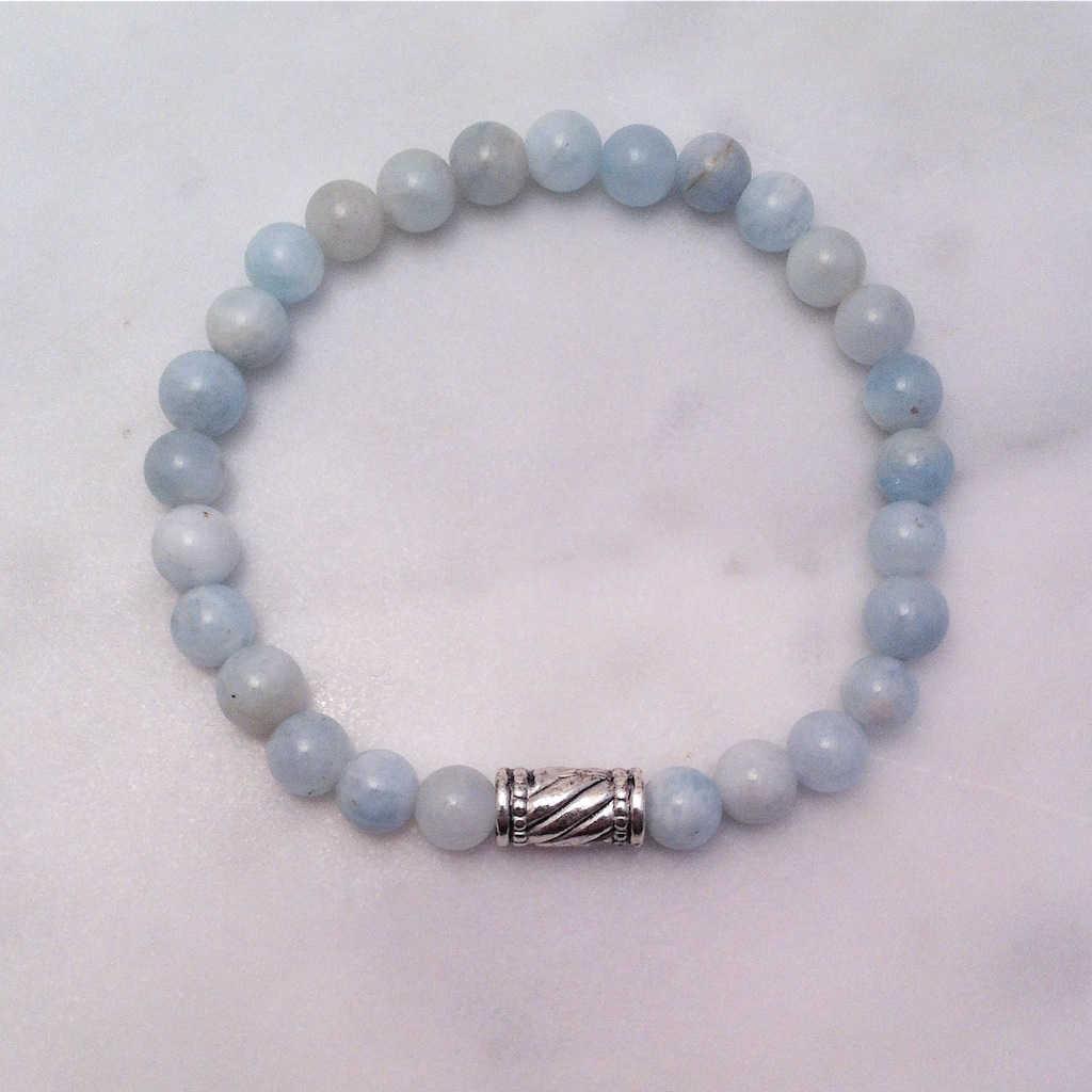 aquamarine mala bracelet with leaf