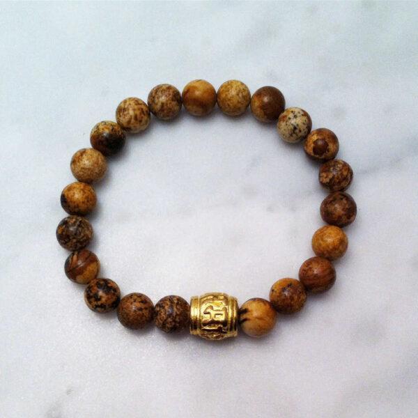 picture jasper mala bracelet with mantra