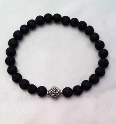Black Lava Mala Bracelet with Tibetan Symbol