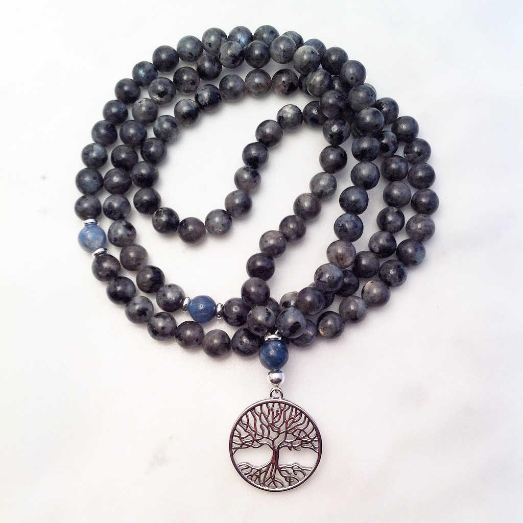 labradorite and kyanite mala necklace