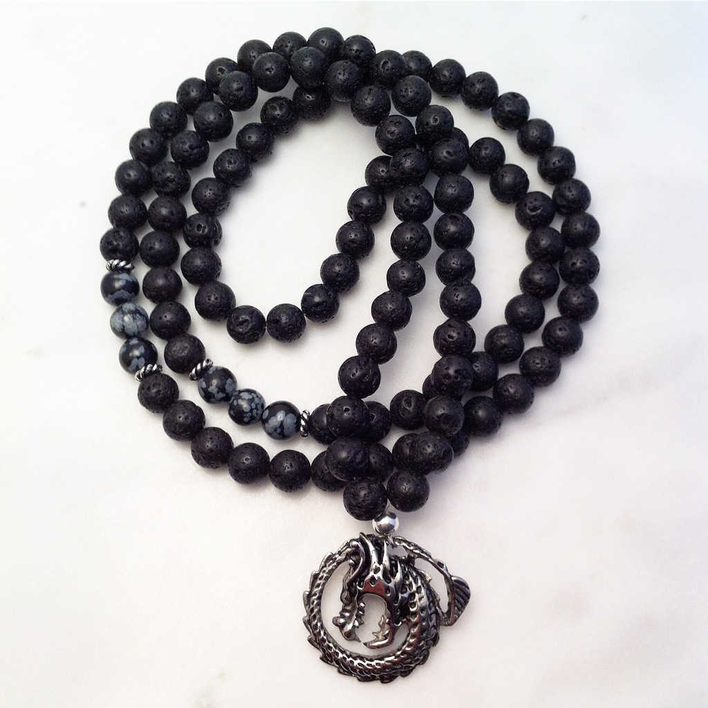 black lava and obsidian mala necklace
