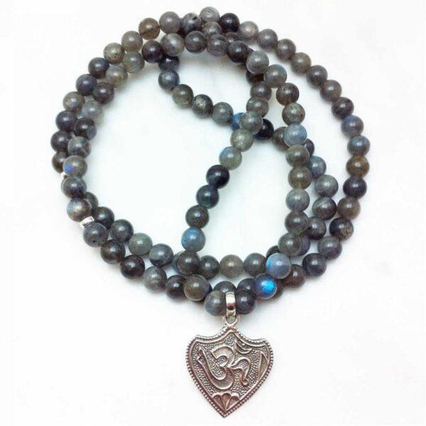 labradorite mala necklace with OM