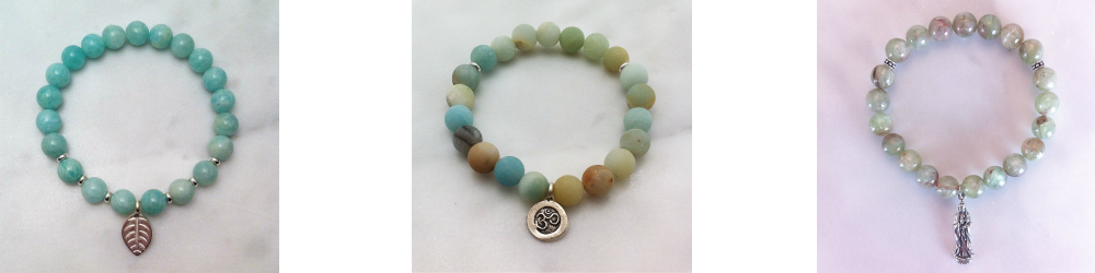mala bracelets in amazonite and green kyanite